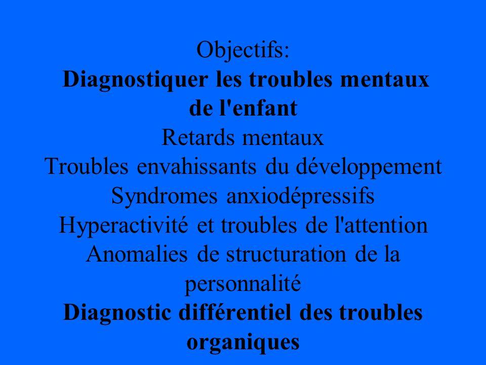 Objectifs: Diagnostiquer les troubles mentaux de l'enfant Retards mentaux Troubles envahissants du développement Syndromes anxiodépressifs Hyperactivi