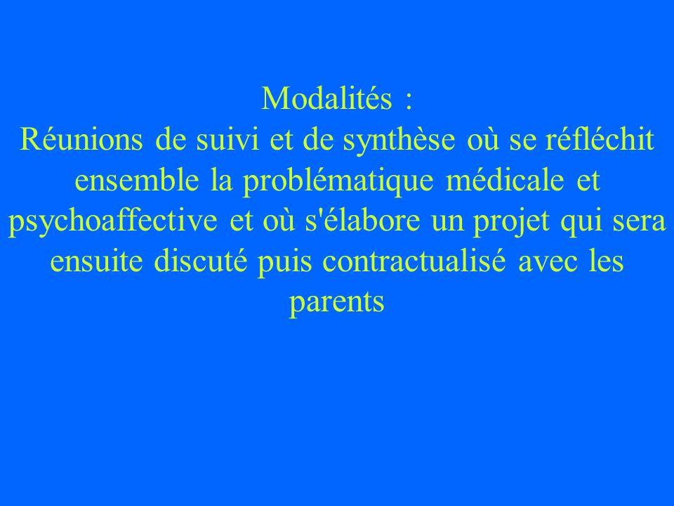 Modalités : Réunions de suivi et de synthèse où se réfléchit ensemble la problématique médicale et psychoaffective et où s'élabore un projet qui sera