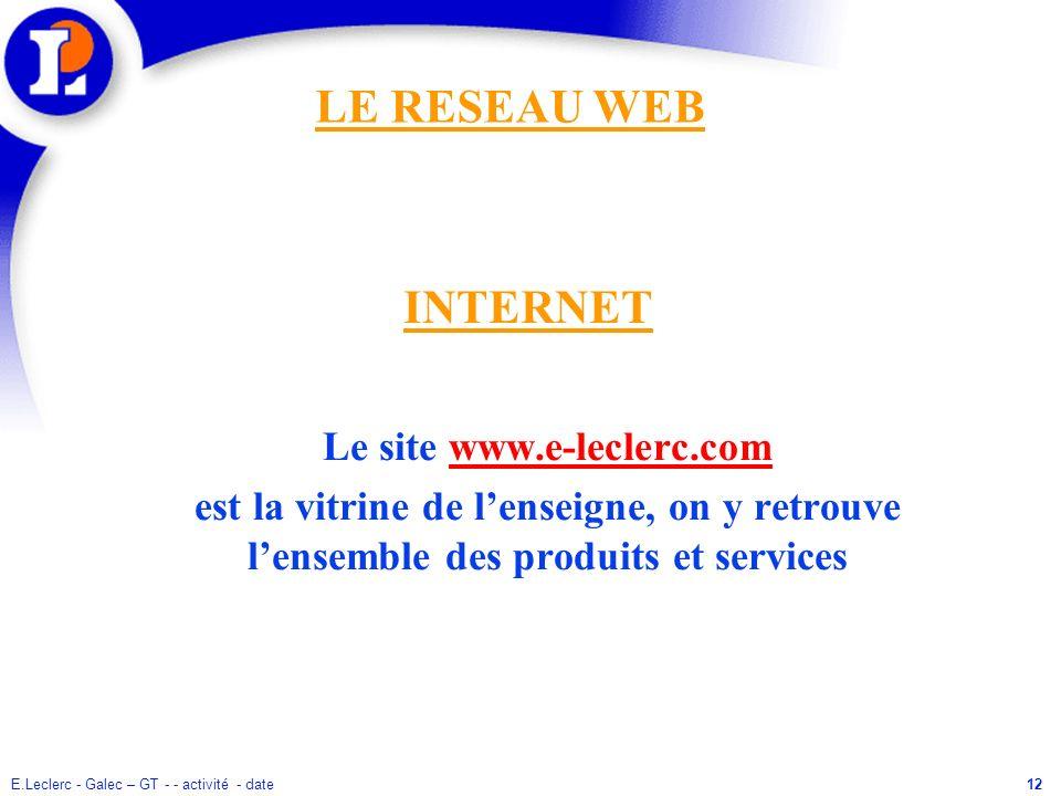 E.Leclerc - Galec – GT - - activité - date12 Le site www.e-leclerc.com est la vitrine de lenseigne, on y retrouve lensemble des produits et services I