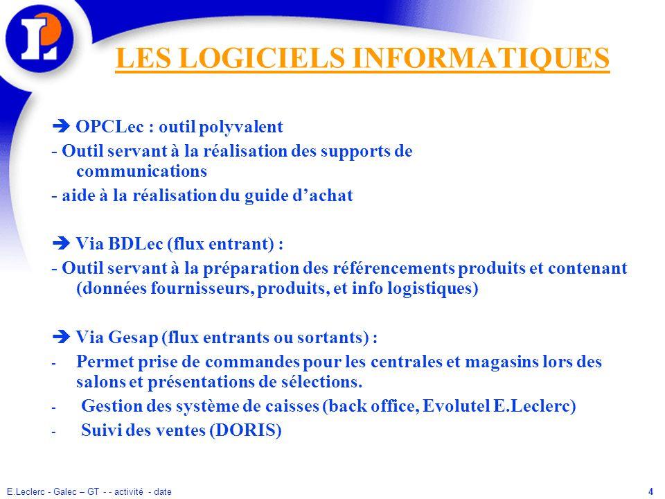 E.Leclerc - Galec – GT - - activité - date4 LES LOGICIELS INFORMATIQUES OPCLec : outil polyvalent - Outil servant à la réalisation des supports de com