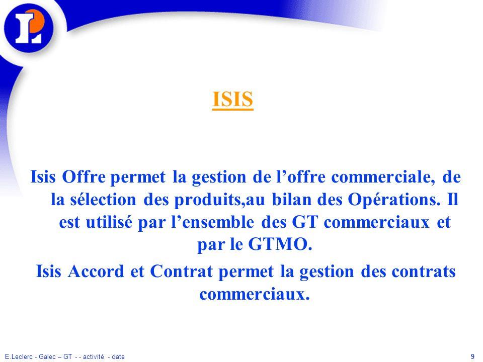 9 ISIS Isis Offre permet la gestion de loffre commerciale, de la sélection des produits,au bilan des Opérations. Il est utilisé par lensemble des GT c