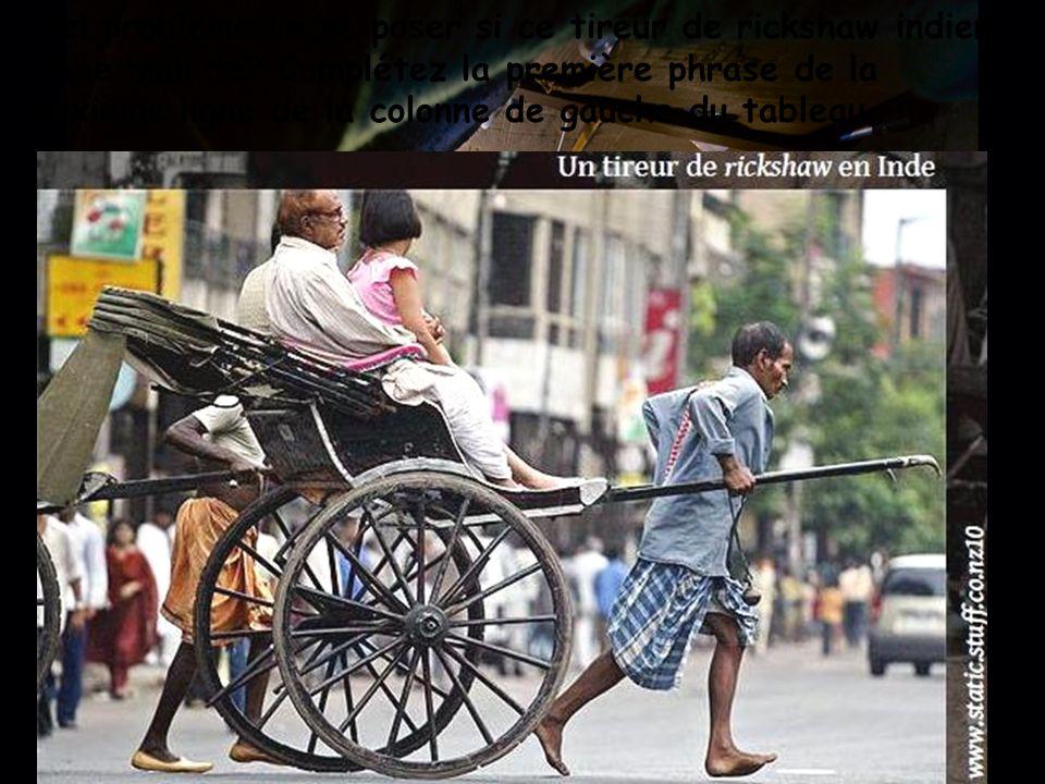 Quel problème va se poser si ce tireur de rickshaw indien tombe malade? Complétez la première phrase de la deuxième ligne de la colonne de gauche du t