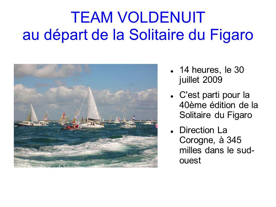 TEAM VOLDENUIT au départ de la Solitaire du Figaro 14 heures, le 30 juillet 2009 C est parti pour la 40ème édition de la Solitaire du Figaro Direction La Corogne, à 345 milles dans le sud- ouest