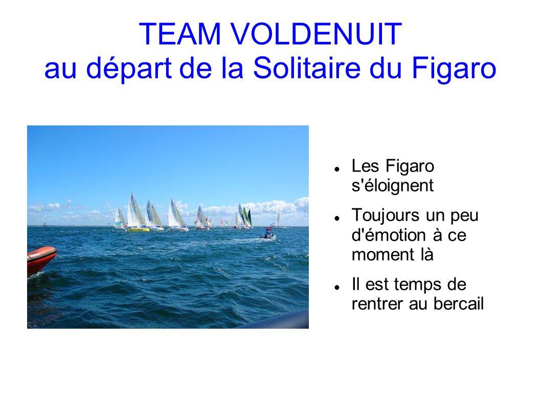 TEAM VOLDENUIT au départ de la Solitaire du Figaro Les Figaro s éloignent Toujours un peu d émotion à ce moment là Il est temps de rentrer au bercail