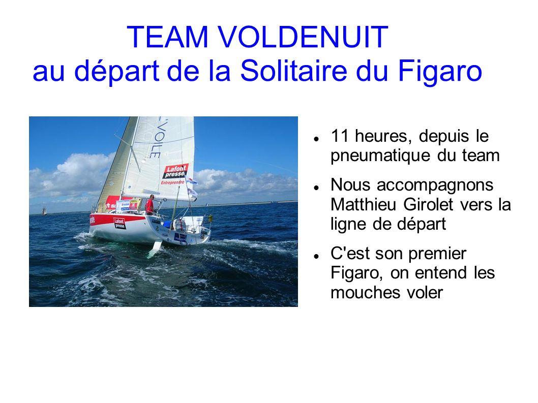 TEAM VOLDENUIT au départ de la Solitaire du Figaro 11 heures, depuis le pneumatique du team Nous accompagnons Matthieu Girolet vers la ligne de départ C est son premier Figaro, on entend les mouches voler