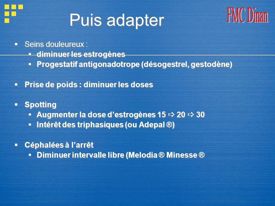 Puis adapter Seins douleureux : diminuer les estrogènes Progestatif antigonadotrope (désogestrel, gestodène) Prise de poids : diminuer les doses Spott