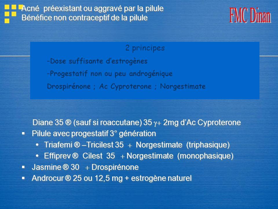 Acné préexistant ou aggravé par la pilule Bénéfice non contraceptif de la pilule Diane 35 ® (sauf si roaccutane) 35 2mg dAc Cyproterone Pilule avec pr