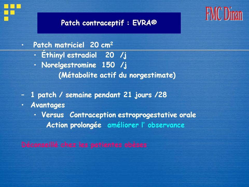 Patch contraceptif : EVRA® Patch matriciel 20 cm 2 Éthinyl estradiol 20 /j Norelgestromine 150 /j (Métabolite actif du norgestimate) –1 patch / semain