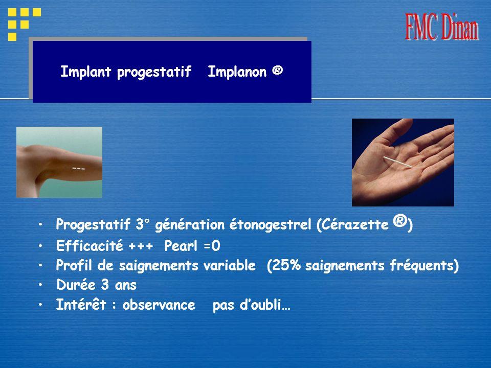 Implant progestatif Implanon ® Progestatif 3° génération étonogestrel (Cérazette ® ) Efficacité +++ Pearl =0 Profil de saignements variable (25% saign