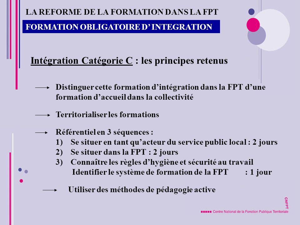 FORMATION OBLIGATOIRE D INTEGRATION Intégration Catégorie C : les principes retenus Distinguer cette formation dintégration dans la FPT dune formation