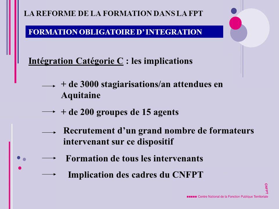 FORMATION OBLIGATOIRE D INTEGRATION Intégration Catégorie C : les implications + de 3000 stagiarisations/an attendues en Aquitaine + de 200 groupes de