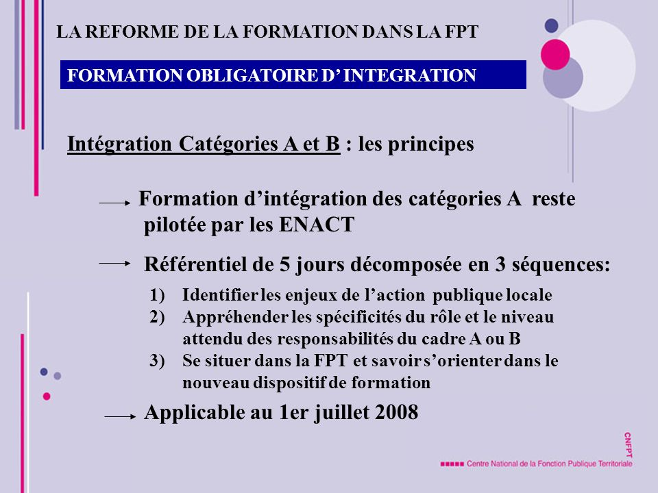 FORMATION OBLIGATOIRE D INTEGRATION Intégration Catégories A et B : les principes Formation dintégration des catégories A reste pilotée par les ENACT