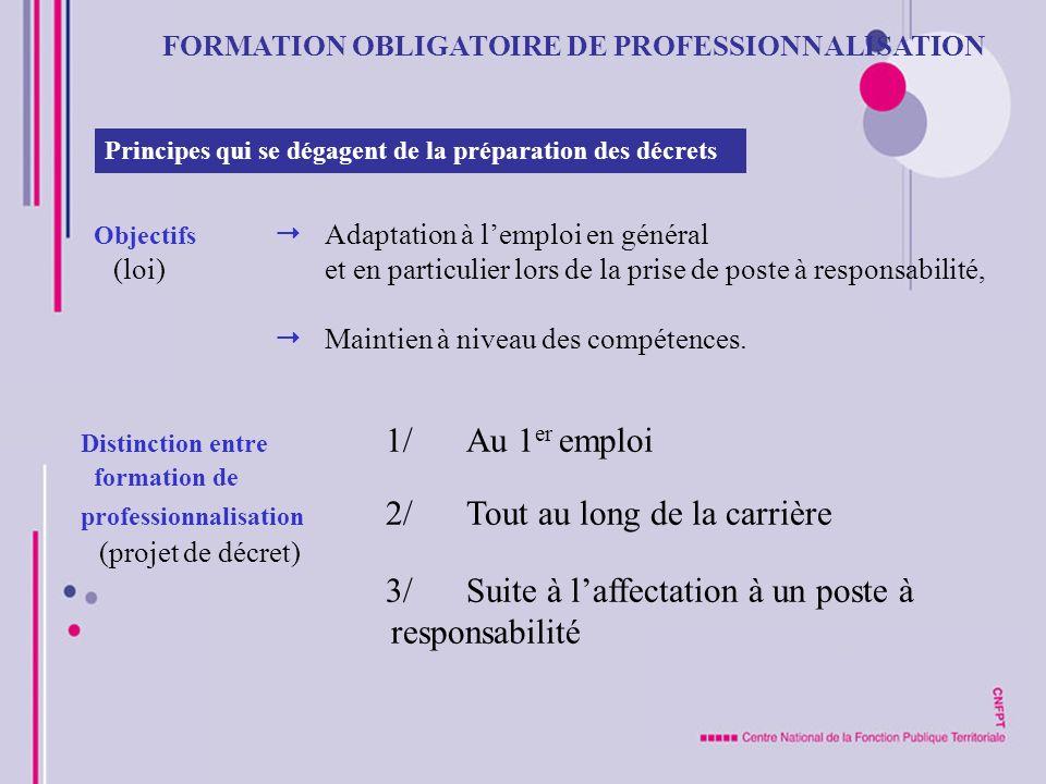 FORMATION OBLIGATOIRE DE PROFESSIONNALISATION Principes qui se dégagent de la préparation des décrets Objectifs Adaptation à lemploi en général (loi)e