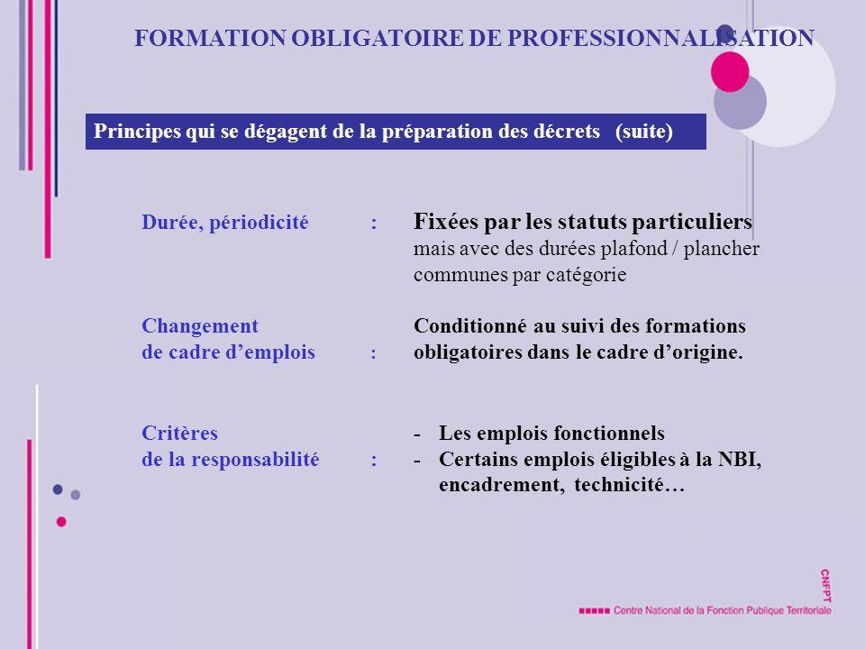 FORMATION OBLIGATOIRE DE PROFESSIONNALISATION Principes qui se dégagent de la préparation des décrets (suite) Durée, périodicité : Fixées par les stat