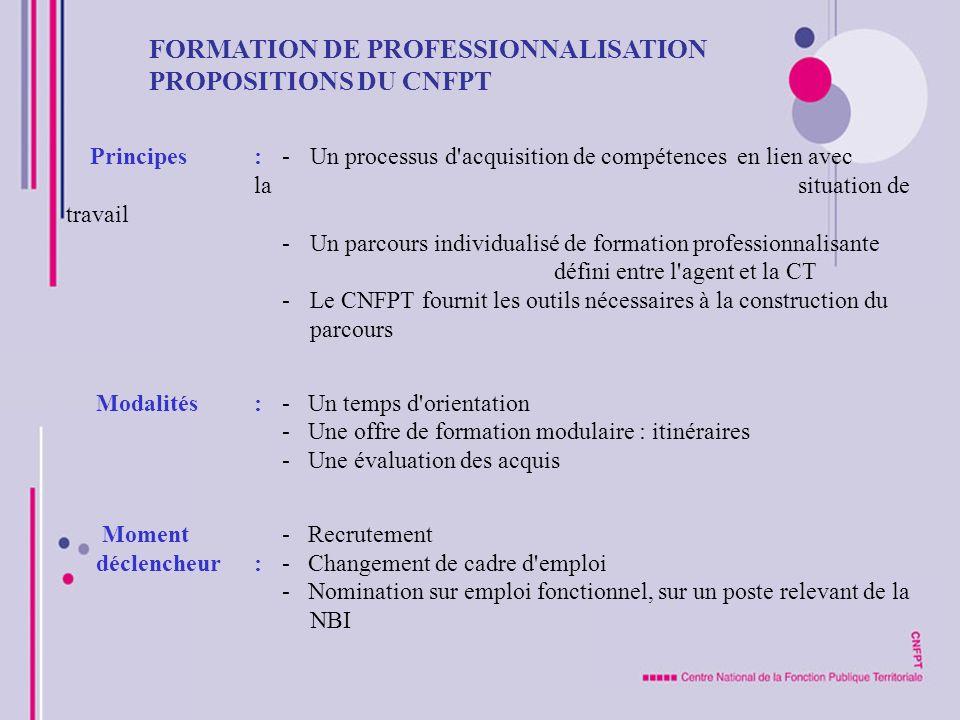 FORMATION DE PROFESSIONNALISATION PROPOSITIONS DU CNFPT Principes : -Un processus d'acquisition de compétences en lien avec la situation de travail -U