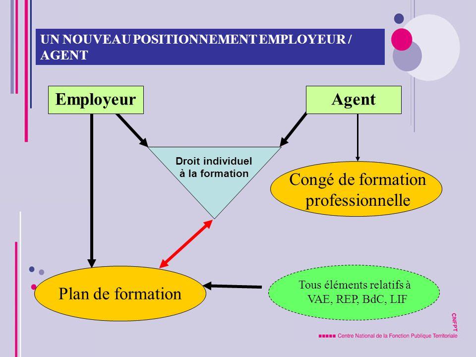 UN NOUVEAU POSITIONNEMENT EMPLOYEUR / AGENT EmployeurAgent Plan de formation Congé de formation professionnelle Droit individuel à la formation Tous é