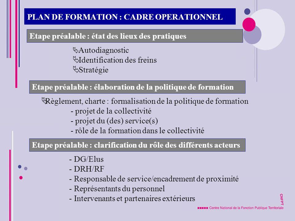 PLAN DE FORMATION : CADRE OPERATIONNEL Etape préalable : état des lieux des pratiques Autodiagnostic Identification des freins Stratégie Etape préalab