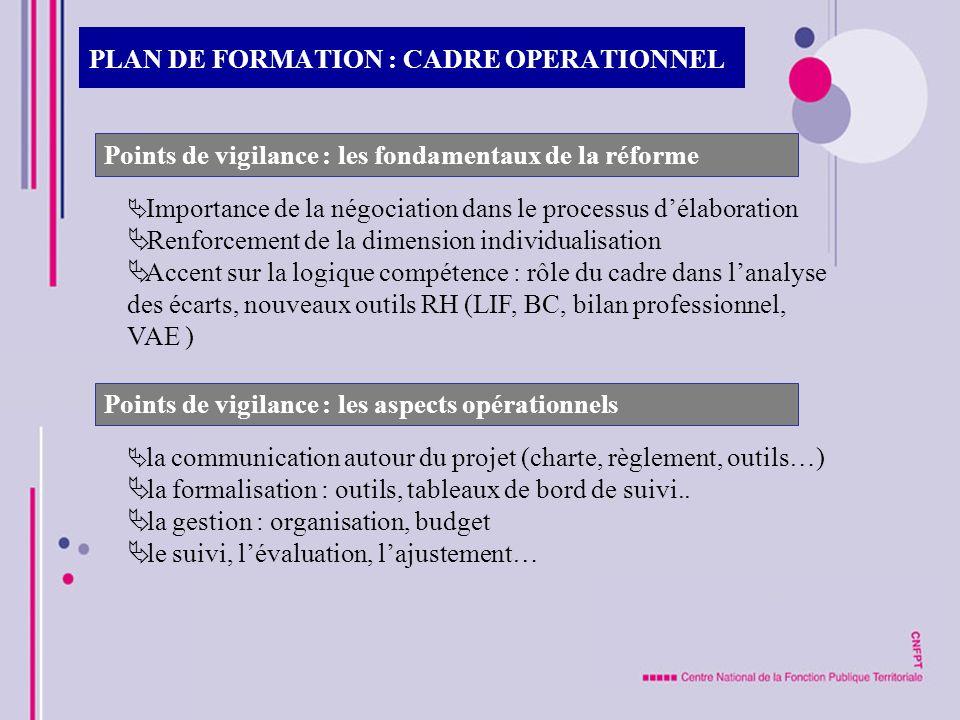 PLAN DE FORMATION : CADRE OPERATIONNEL Points de vigilance : les fondamentaux de la réforme Importance de la négociation dans le processus délaboratio
