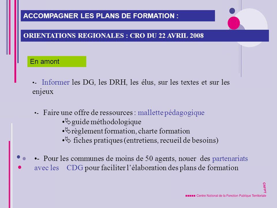 - Faire une offre de ressources : mallette pédagogique guide méthodologique règlement formation, charte formation fiches pratiques (entretiens, recuei