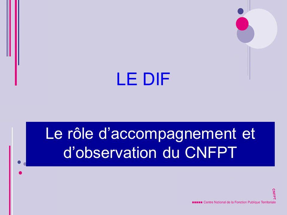 LE DIF Le rôle daccompagnement et dobservation du CNFPT