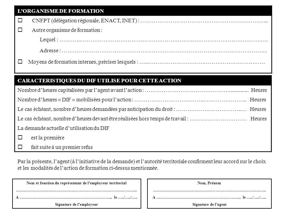 LORGANISME DE FORMATION CNFPT (délégation régionale, ENACT, INET) : …………………………………………………………... Autre organisme de formation : Lequel : ………...…………………………