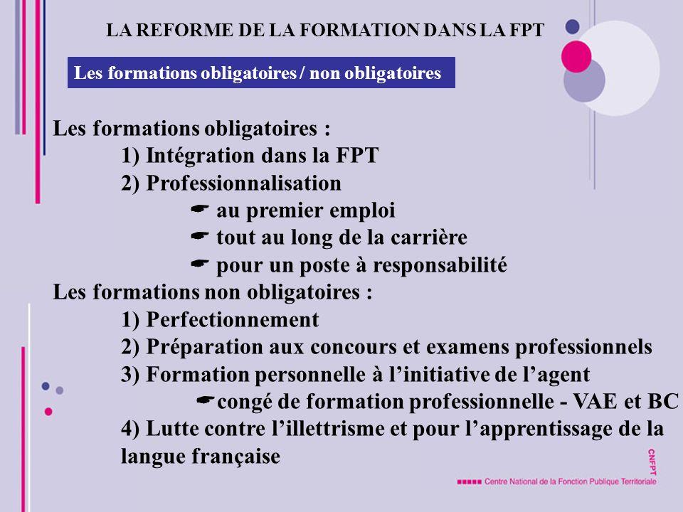 LA REFORME DE LA FORMATION DANS LA FPT Les formations obligatoires / non obligatoires Les formations obligatoires : 1) Intégration dans la FPT 2) Prof