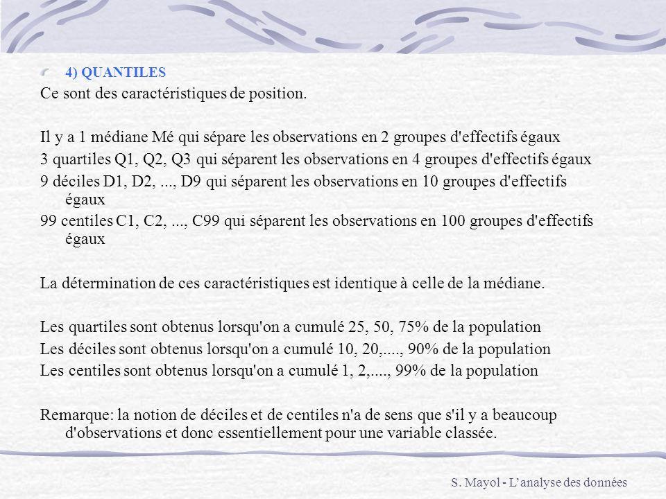 4) QUANTILES Ce sont des caractéristiques de position. Il y a 1 médiane Mé qui sépare les observations en 2 groupes d'effectifs égaux 3 quartiles Q1,