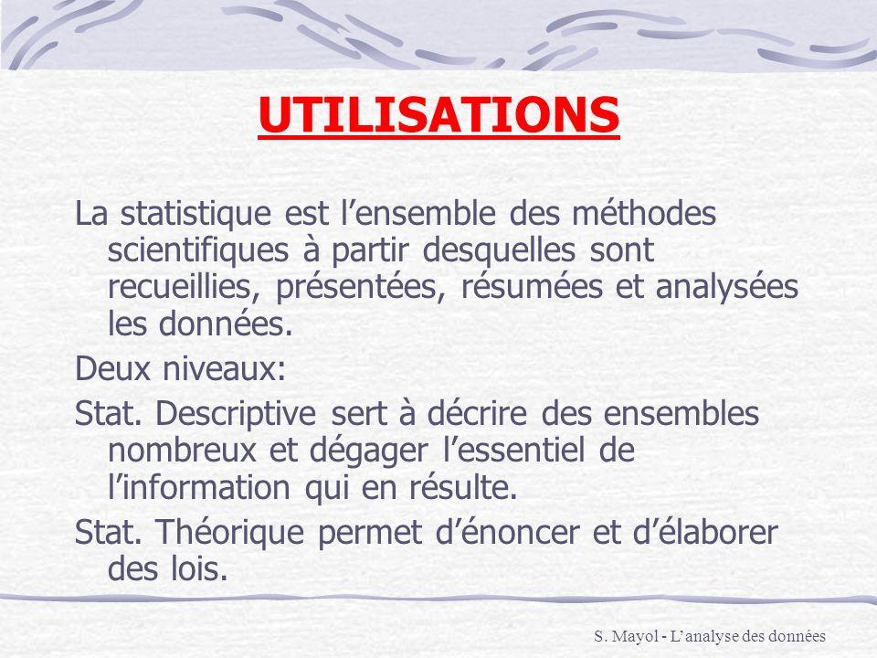 UTILISATIONS La statistique est lensemble des méthodes scientifiques à partir desquelles sont recueillies, présentées, résumées et analysées les donné
