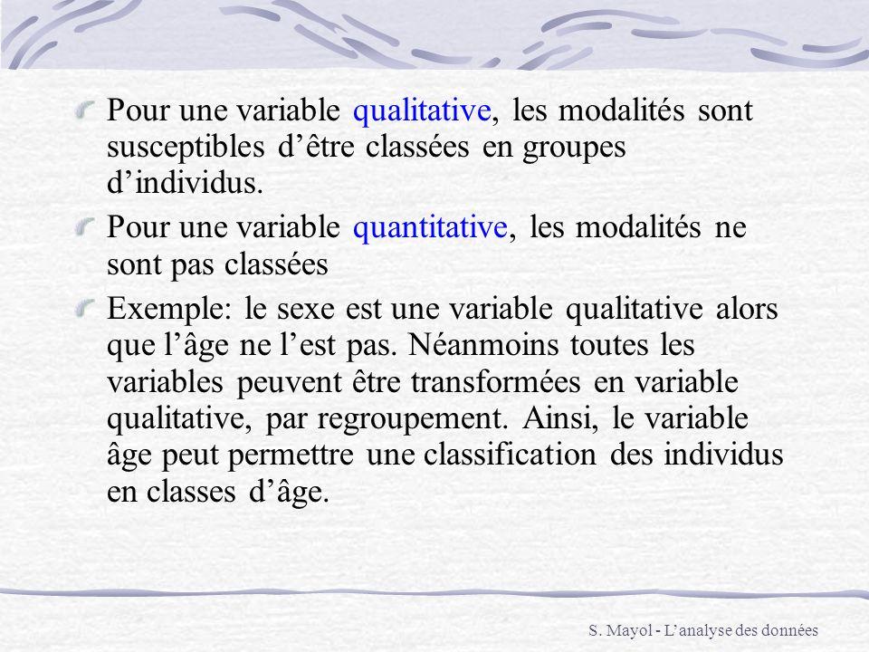 Pour une variable qualitative, les modalités sont susceptibles dêtre classées en groupes dindividus. Pour une variable quantitative, les modalités ne