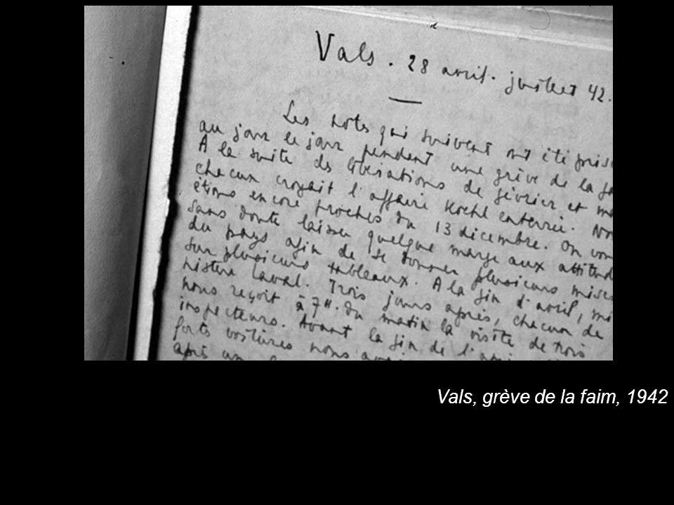 Vals, grève de la faim, 1942
