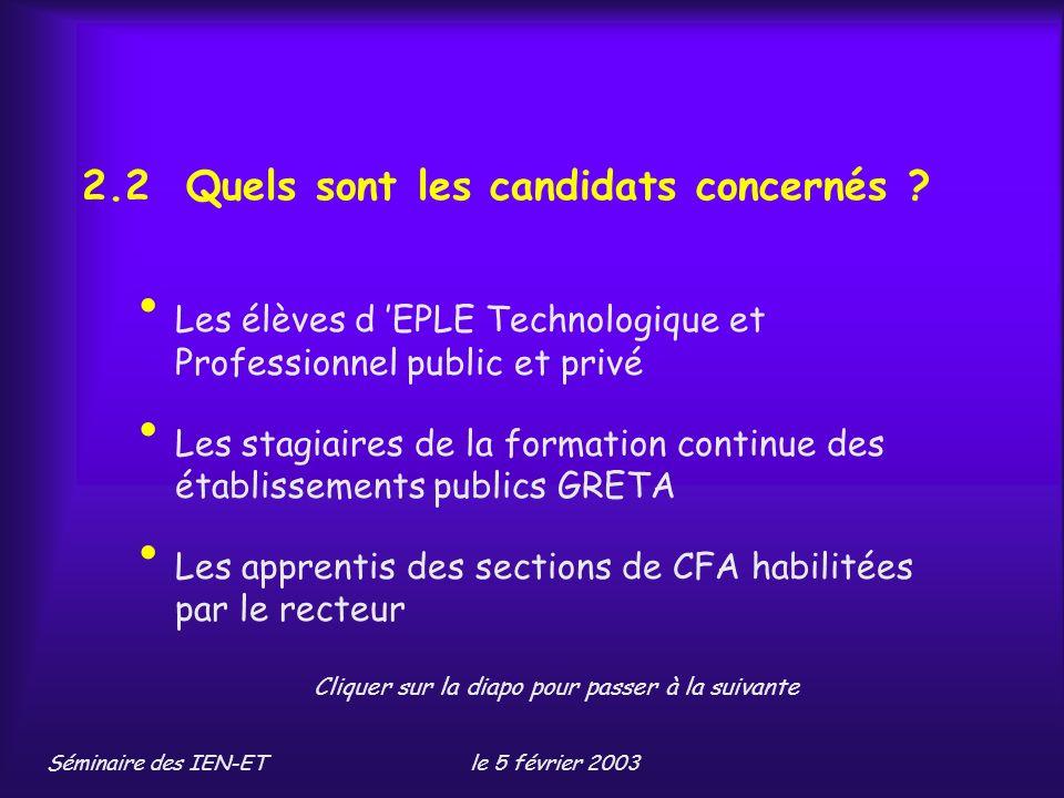 Séminaire des IEN-ETle 5 février 2003 2.2 Quels sont les candidats concernés .