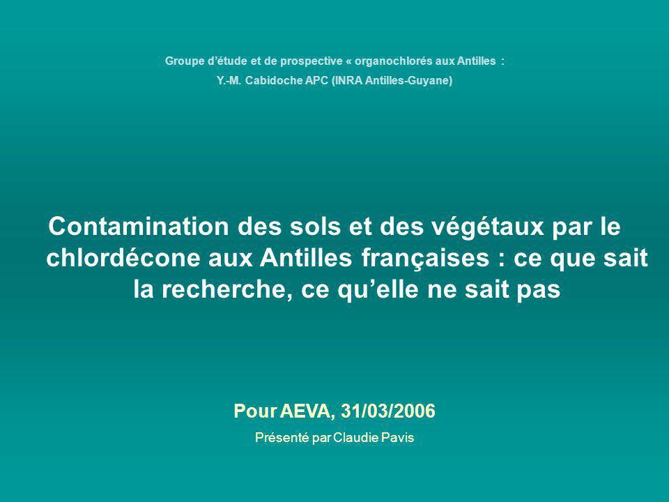 Contamination des sols et des végétaux par le chlordécone aux Antilles françaises : ce que sait la recherche, ce quelle ne sait pas Groupe détude et d
