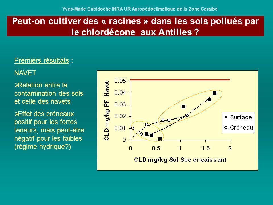 Yves-Marie Cabidoche INRA UR Agropédoclimatique de la Zone Caraïbe Premiers résultats : NAVET Relation entre la contamination des sols et celle des na