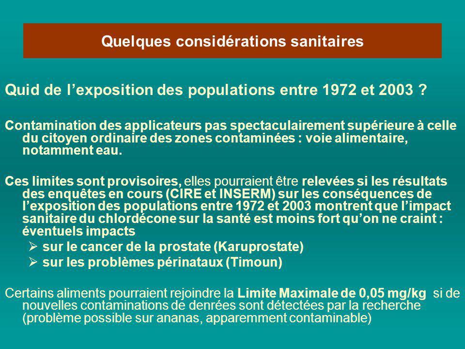 Quid de lexposition des populations entre 1972 et 2003 ? Contamination des applicateurs pas spectaculairement supérieure à celle du citoyen ordinaire