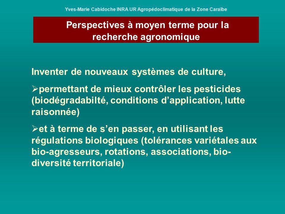 Perspectives à moyen terme pour la recherche agronomique Yves-Marie Cabidoche INRA UR Agropédoclimatique de la Zone Caraïbe Inventer de nouveaux systè