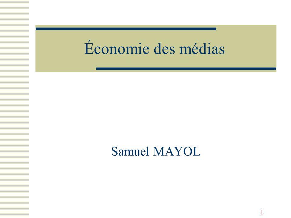 2 Plan du séminaire Économie des médias : présentation générale Définition des médias Quelles caractéristiques de linformation.