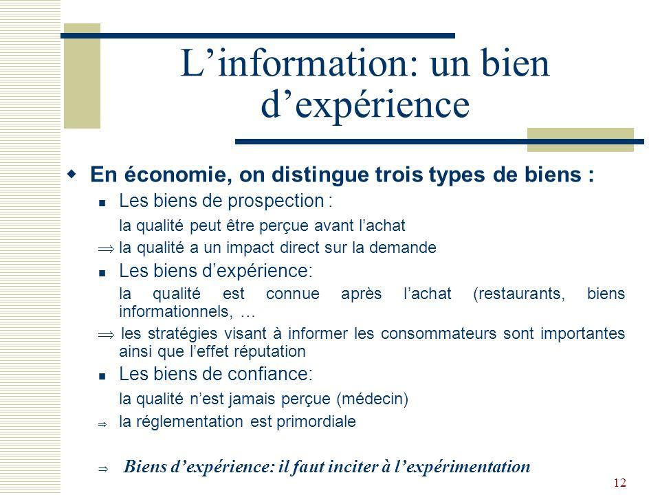 12 Linformation: un bien dexpérience En économie, on distingue trois types de biens : Les biens de prospection : la qualité peut être perçue avant lac