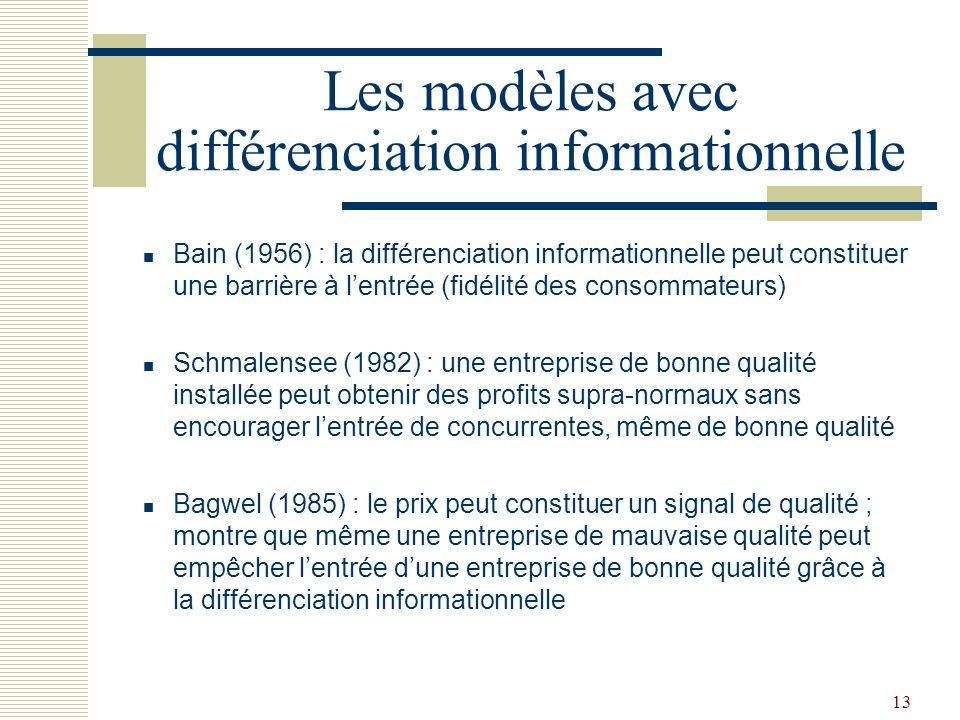 13 Les modèles avec différenciation informationnelle Bain (1956) : la différenciation informationnelle peut constituer une barrière à lentrée (fidélit