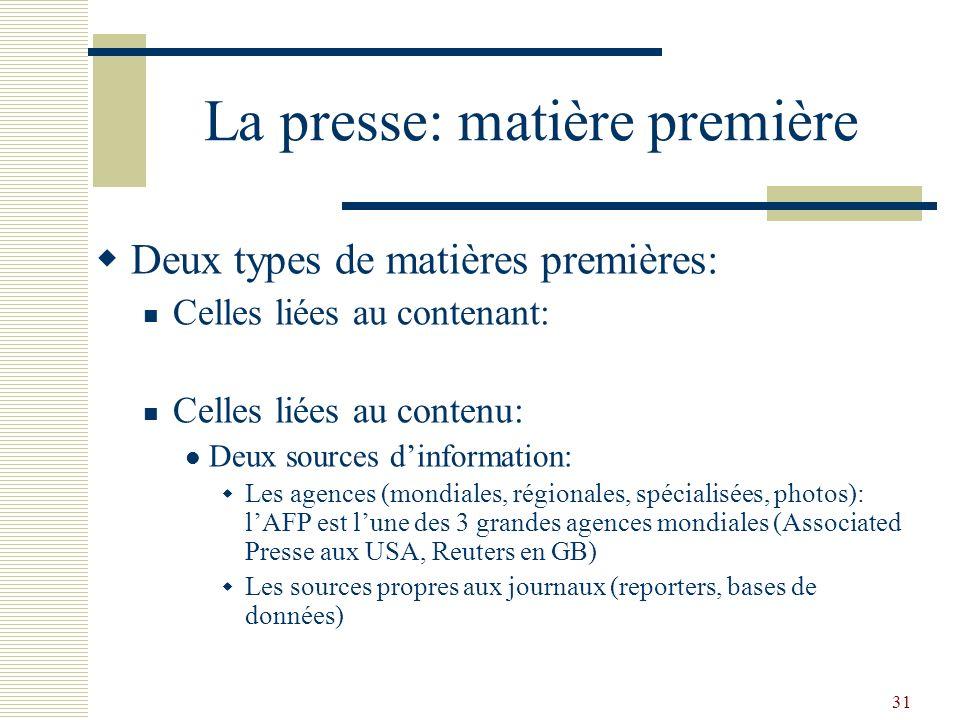 31 La presse: matière première Deux types de matières premières: Celles liées au contenant: Celles liées au contenu: Deux sources dinformation: Les ag