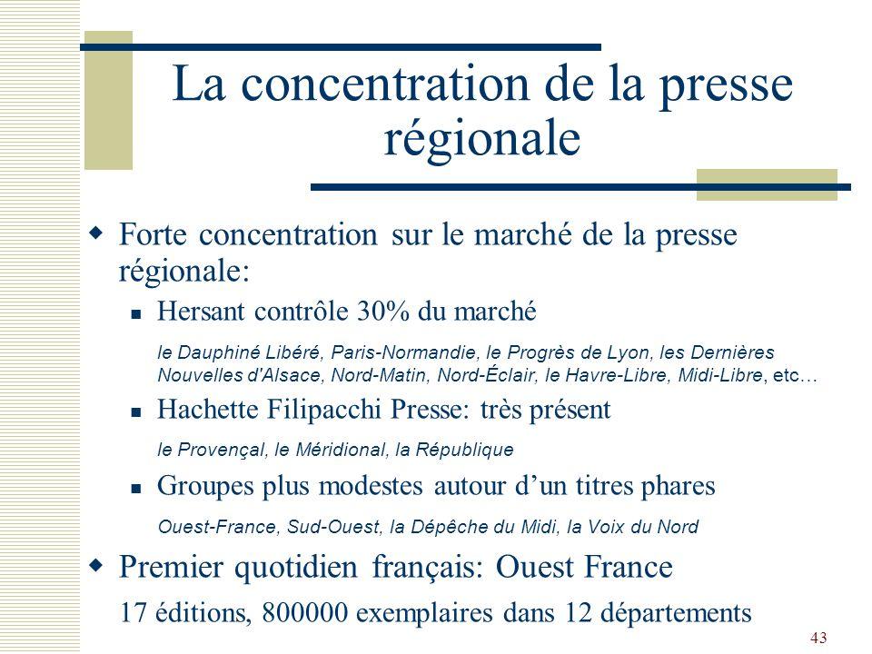 43 La concentration de la presse régionale Forte concentration sur le marché de la presse régionale: Hersant contrôle 30% du marché le Dauphiné Libéré