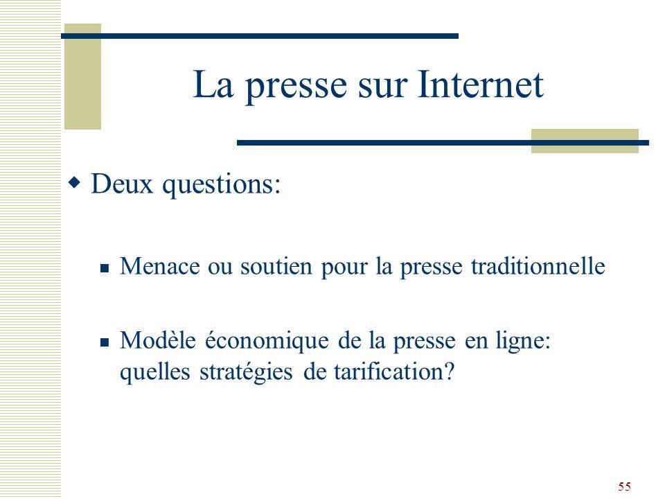 55 La presse sur Internet Deux questions: Menace ou soutien pour la presse traditionnelle Modèle économique de la presse en ligne: quelles stratégies