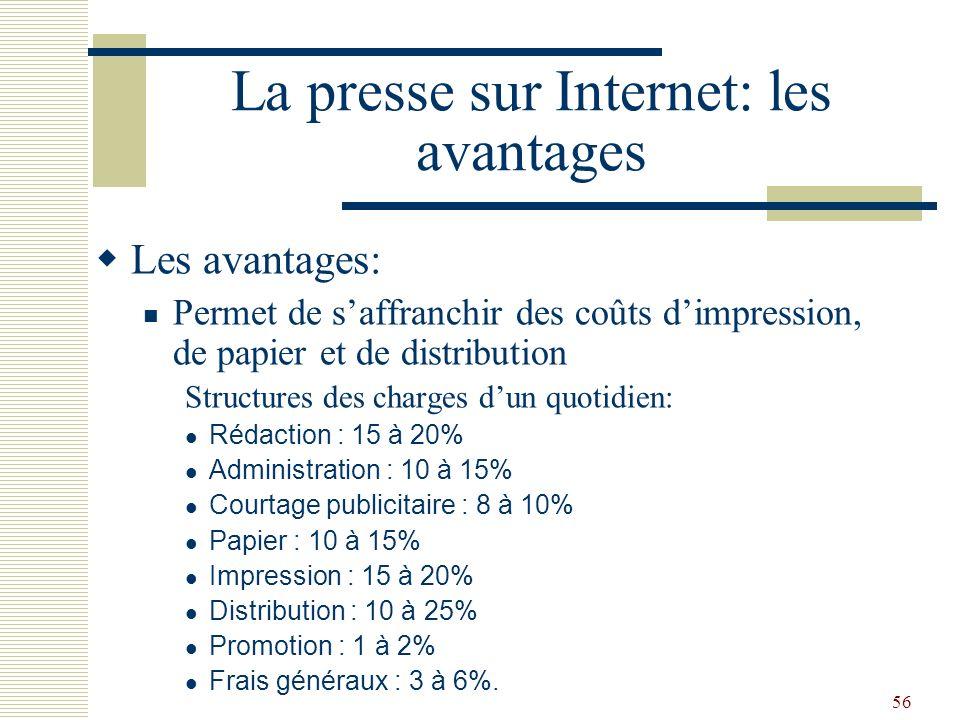 56 La presse sur Internet: les avantages Les avantages: Permet de saffranchir des coûts dimpression, de papier et de distribution Structures des charg