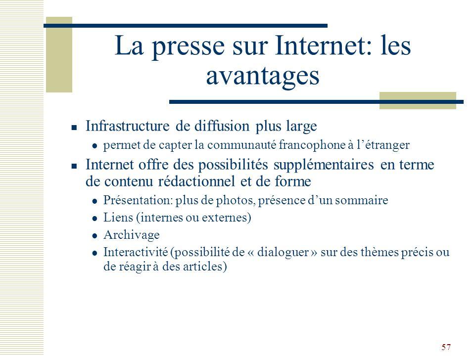 57 La presse sur Internet: les avantages Infrastructure de diffusion plus large permet de capter la communauté francophone à létranger Internet offre