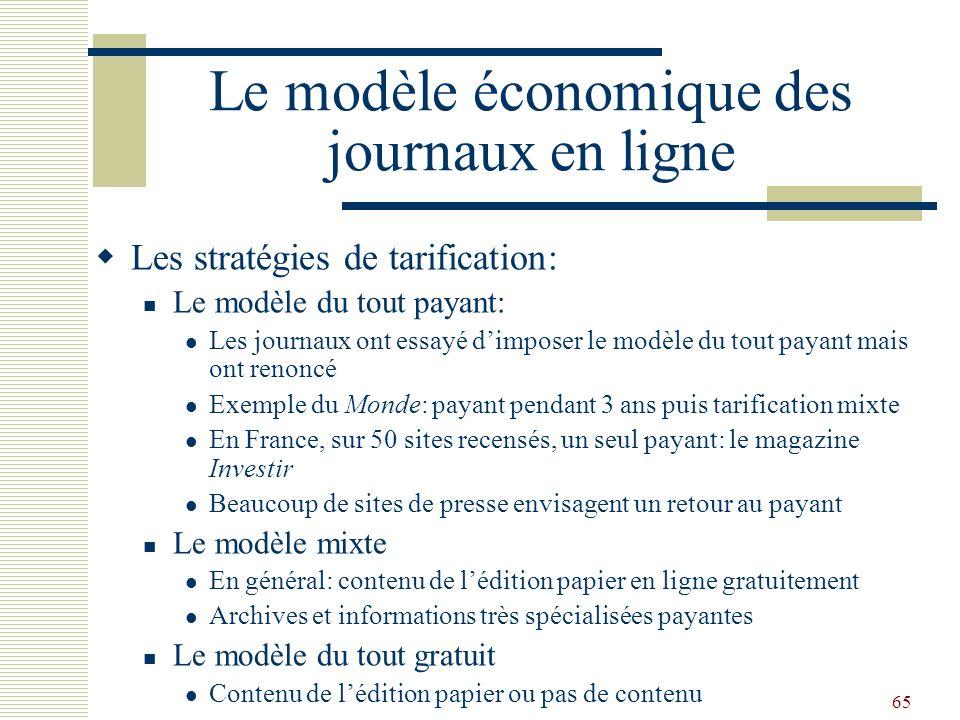 65 Le modèle économique des journaux en ligne Les stratégies de tarification: Le modèle du tout payant: Les journaux ont essayé dimposer le modèle du