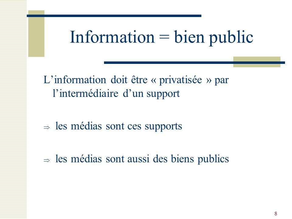 8 Information = bien public Linformation doit être « privatisée » par lintermédiaire dun support les médias sont ces supports les médias sont aussi de