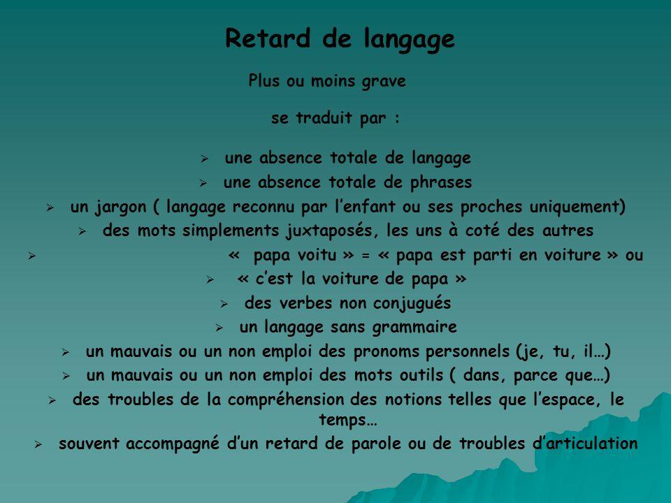 Retard de langage Plus ou moins grave se traduit par : une absence totale de langage une absence totale de phrases un jargon ( langage reconnu par len