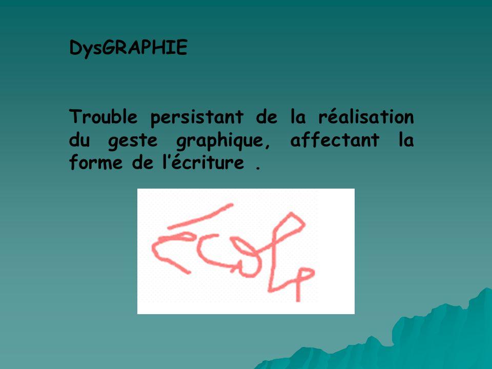 DysGRAPHIE Trouble persistant de la réalisation du geste graphique, affectant la forme de lécriture.