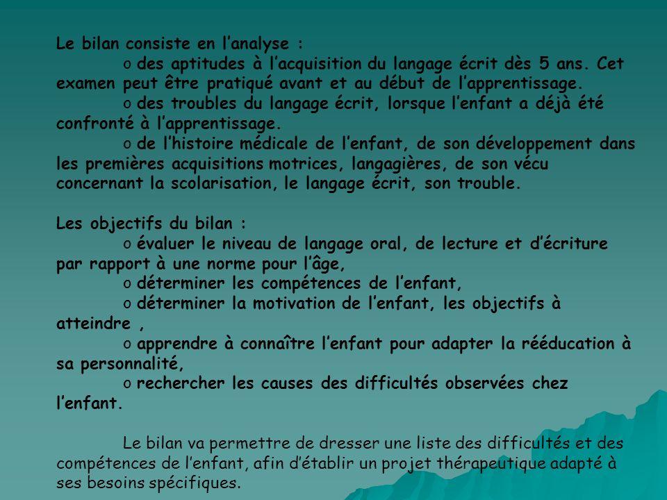 Le bilan consiste en lanalyse : o des aptitudes à lacquisition du langage écrit dès 5 ans. Cet examen peut être pratiqué avant et au début de lapprent