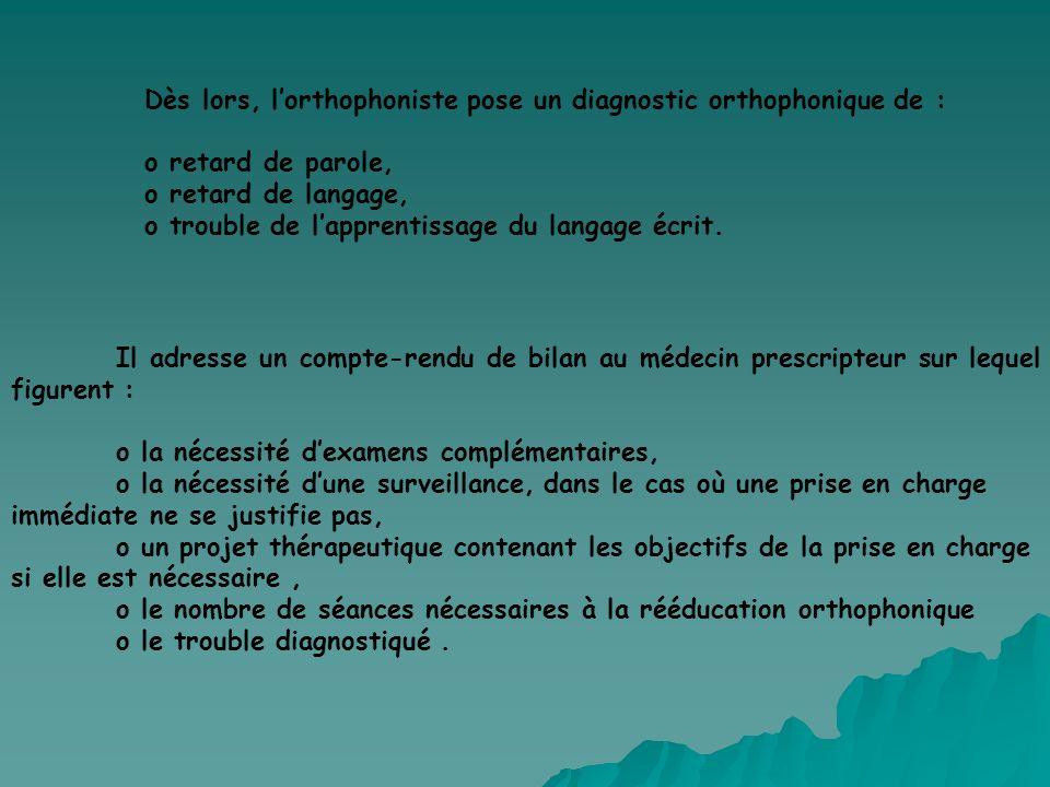 Dès lors, lorthophoniste pose un diagnostic orthophonique de : o retard de parole, o retard de langage, o trouble de lapprentissage du langage écrit.