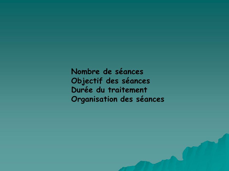 Nombre de séances Objectif des séances Durée du traitement Organisation des séances